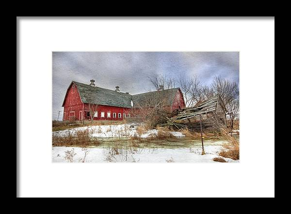 Old Red Barn Framed Print featuring the photograph I Fall To Pieces by Lori Deiter