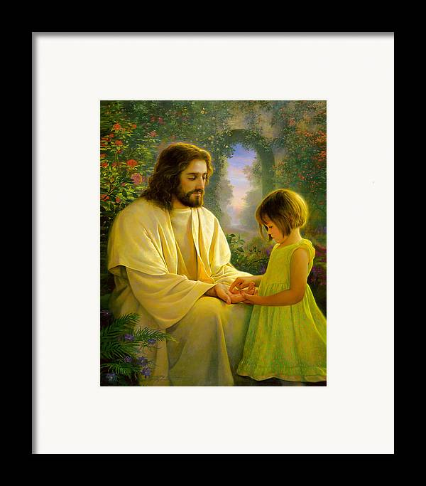 Savior Framed Print featuring the painting I Feel My Savior's Love by Greg Olsen