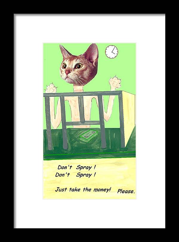 Cat Comic Bare Bank Hold Up Framed Print featuring the mixed media I Give Up by Bethwyn Mills