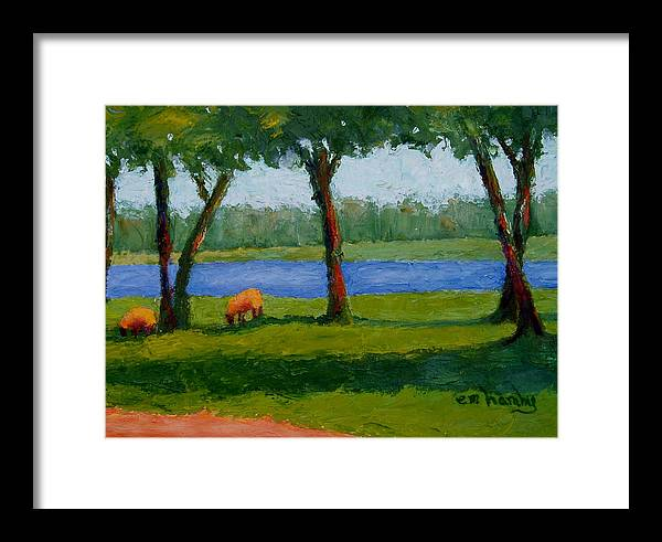 Sheep/landscape/ River /trees Framed Print featuring the painting I Heard His Voice by Marie Hamby