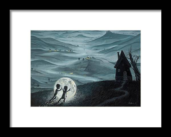 Kids Framed Print featuring the painting I Love Dreaming into That Dying Light by Adrian Borda