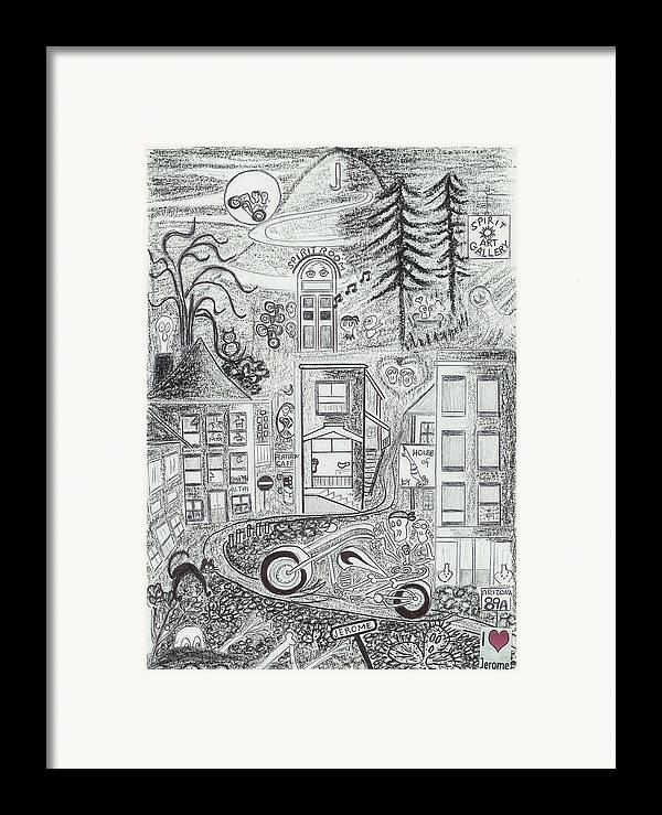 Riding Fun Framed Print featuring the drawing I Love Jerome Az by Ingrid Szabo