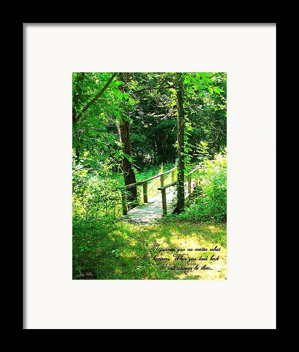 Woods Framed Print featuring the photograph I Promise by Judy Waller