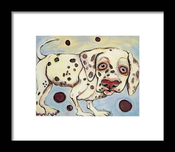Dog Portrait On Canvas Framed Print featuring the painting I See Spots by Michelle Spiziri