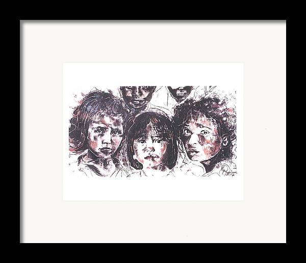 Children Framed Print featuring the drawing I See The Future... by Lynn Gray