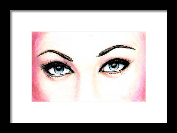 Eyes Framed Print featuring the drawing I See You by Scarlett Royal