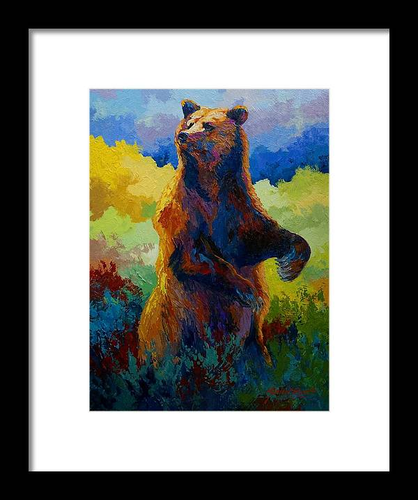 Bear Framed Print featuring the painting I Spy - Grizzly Bear by Marion Rose