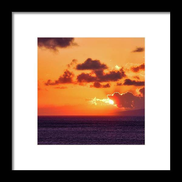Setting Sun Framed Print featuring the photograph I Think I Will Swallow the Sun by Kirsten Giving