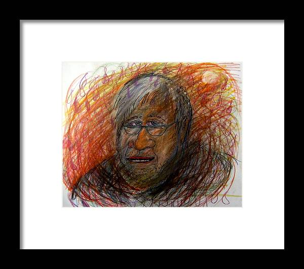 Portrait Framed Print featuring the drawing I Think This Is What He May Of Look Like by Richard Hubal