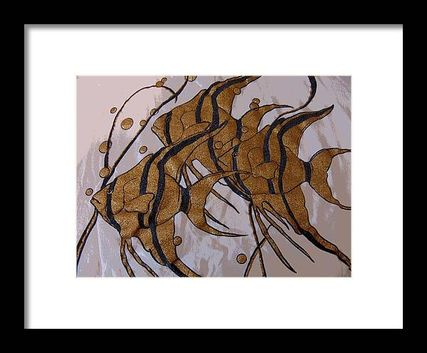 Abstract Framed Print featuring the digital art I Think We're Goldfish by Florene Welebny
