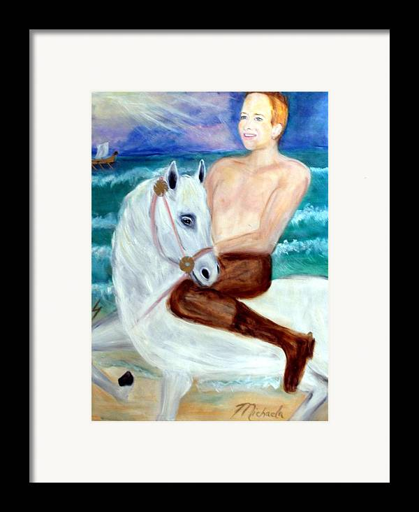 Viking Framed Print featuring the painting I Viking by Michela Akers