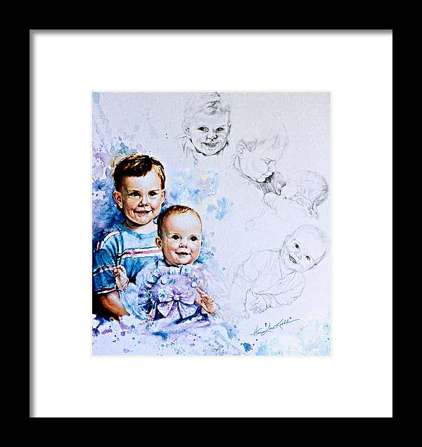 Portrait Framed Print featuring the painting I Will Take Care Of You by Hanne Lore Koehler