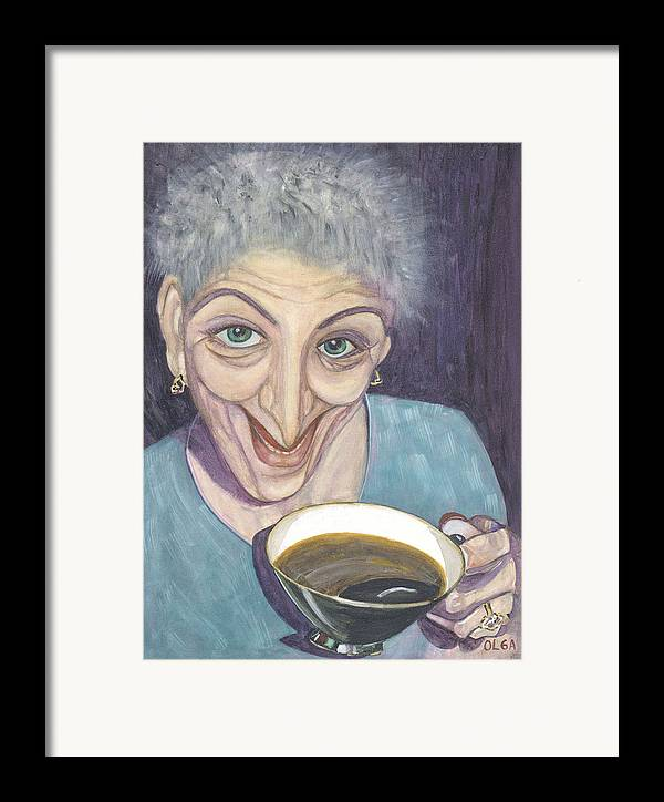 Portrait Framed Print featuring the painting I Would Like To Try This One by Olga Alexeeva