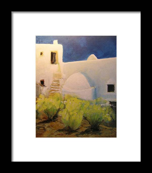 Landscape Framed Print featuring the painting Ibicencan Country House by Lizzy Forrester