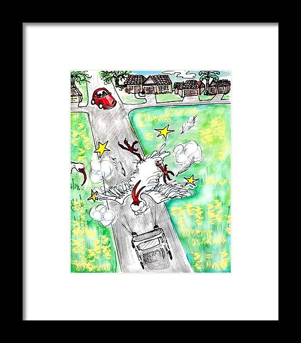 Ibis Framed Print featuring the drawing Ibis Sees Stars by Carol Allen Anfinsen