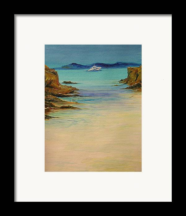 Seascape Original Painting Framed Print featuring the painting Ibiza In The Distance.... by Lizzy Forrester