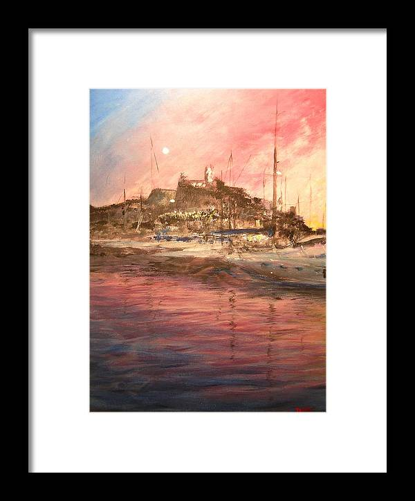 Yachts Framed Print featuring the painting Ibiza Old Town At Sunset by Lizzy Forrester