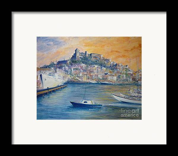 Marina Framed Print featuring the painting Ibiza Old Town Marina And Port by Lizzy Forrester