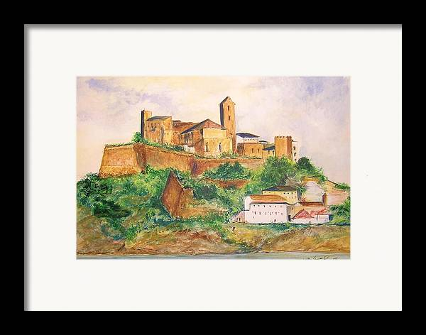 Landscape Framed Print featuring the painting Ibiza Old Town Unesco Site by Lizzy Forrester
