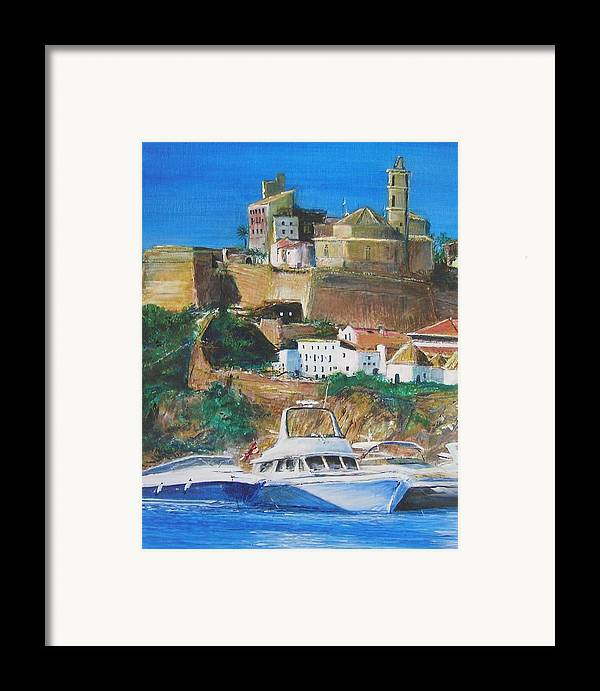 Original Landscape Painting Framed Print featuring the painting Ibiza Town by Lizzy Forrester
