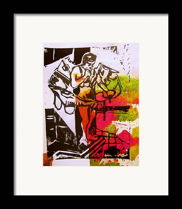 Lino Framed Print featuring the mixed media icarus II by Adam Kissel