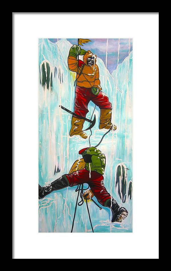 Abstract Sports Framed Print featuring the painting Ice Climbers by V Boge