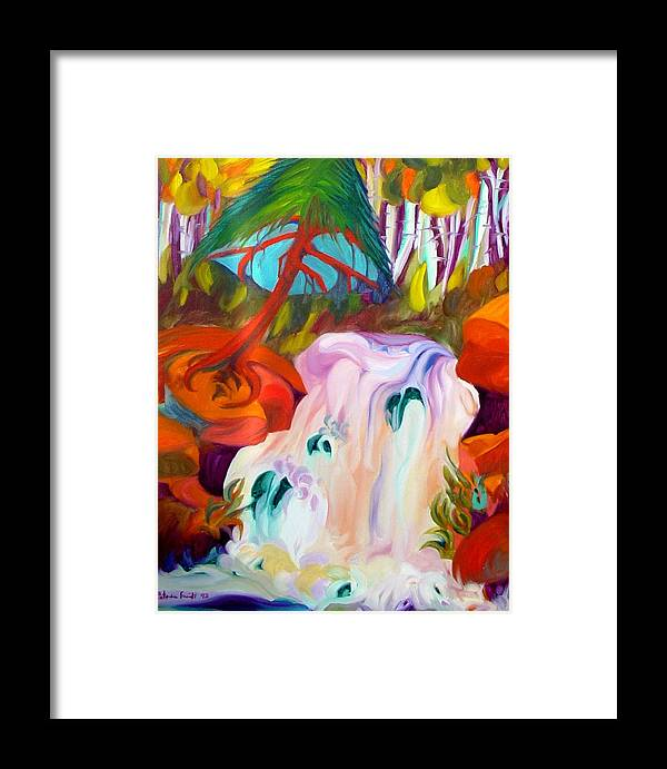 Landscape Framed Print featuring the painting Ice Cream Falls by Patricia Bigelow