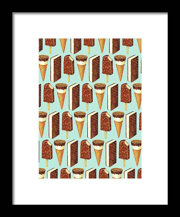 Ice Cream Framed Print featuring the digital art Ice Cream Novelties Pattern by Kelly Gilleran