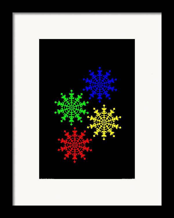 Ice Crystal Framed Print featuring the digital art Ice Crystal by Asbjorn Lonvig