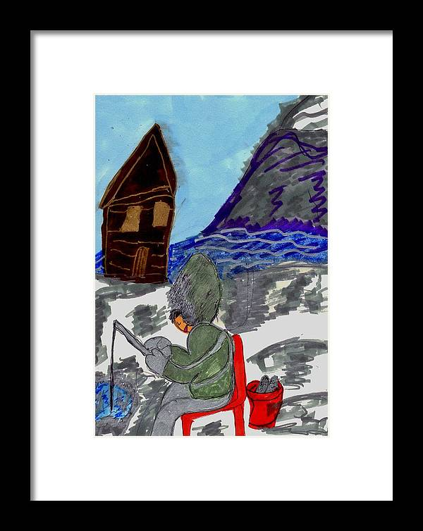Person Ice Fishing Framed Print featuring the mixed media Ice Fishing by Elinor Helen Rakowski