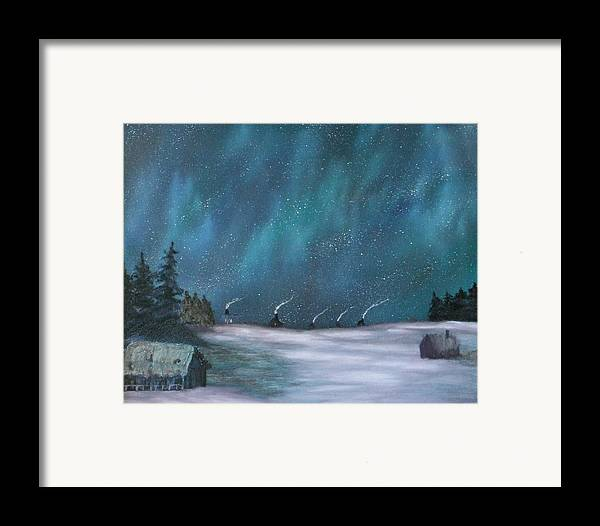 Icefishing Framed Print featuring the painting Ice Fishing Huts by Rebecca Fitchett