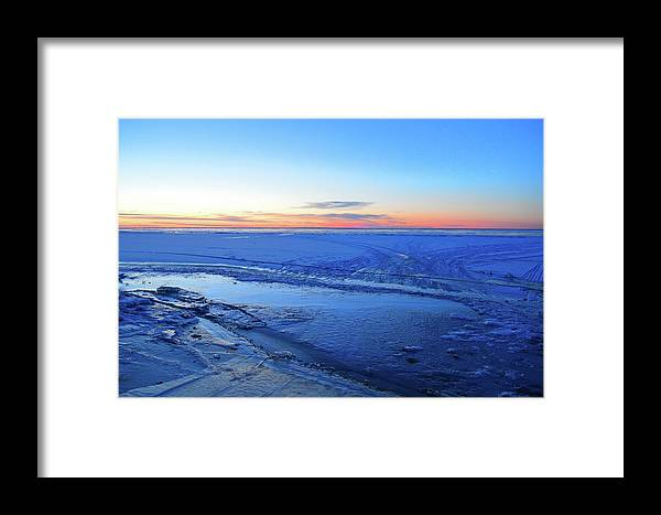 Abstract Framed Print featuring the photograph Ice On The Lake Two by Lyle Crump