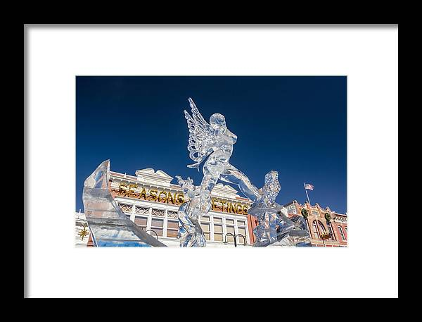 Ice Formations Framed Print featuring the photograph The Annual Ice Sculpting Festival In The Colorado Rockies, The Allure Of A Siren by Bijan Pirnia