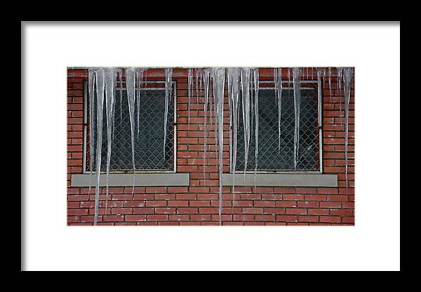 Ice Framed Print featuring the photograph Icicles 2 - In Front Of Windows Off Red Brick Bldg. by Steve Ohlsen