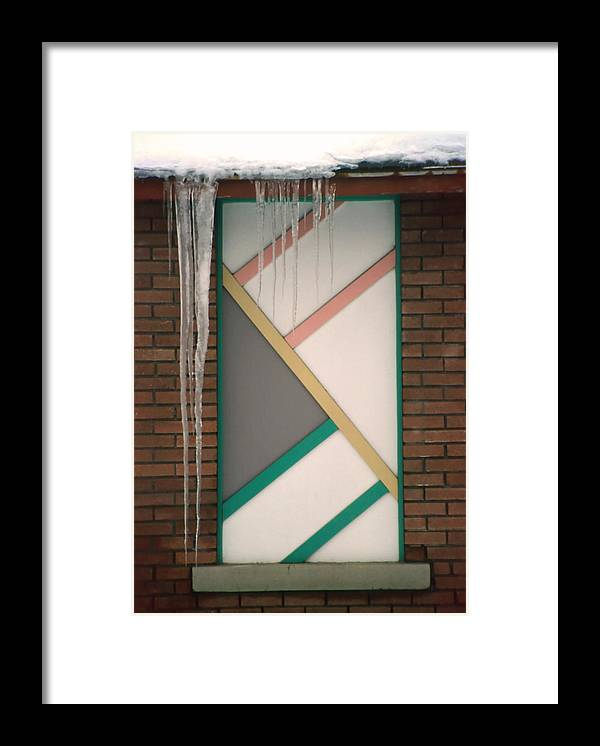 Architecture Framed Print featuring the photograph Icicles 3 - In Front Of Architectural Design Off Red Brick Bldg. by Steve Ohlsen