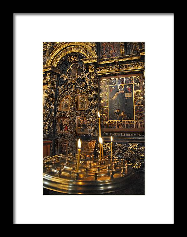 Iconostasis Framed Print featuring the photograph Iconostasis - Church Of Elijah The Prophet by Jacqueline M Lewis