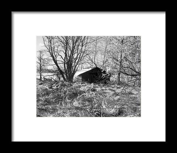 Winter Framed Print featuring the photograph Icy-barn by Curtis J Neeley Jr
