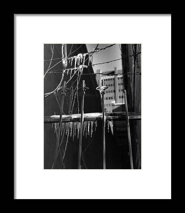 Wrought Iron Framed Print featuring the photograph Icy Gates by Jim Furrer
