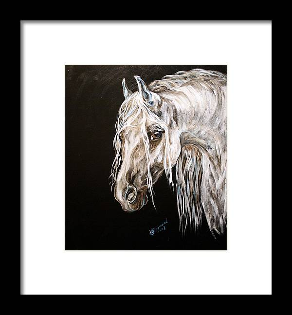 White Horse Framed Print featuring the painting Icy Horse by BJ Redmond
