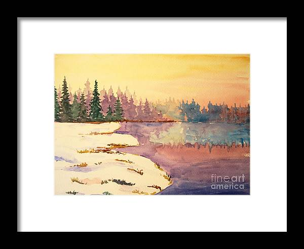 Lake Framed Print featuring the painting Icy Lake by Tina Sheppard
