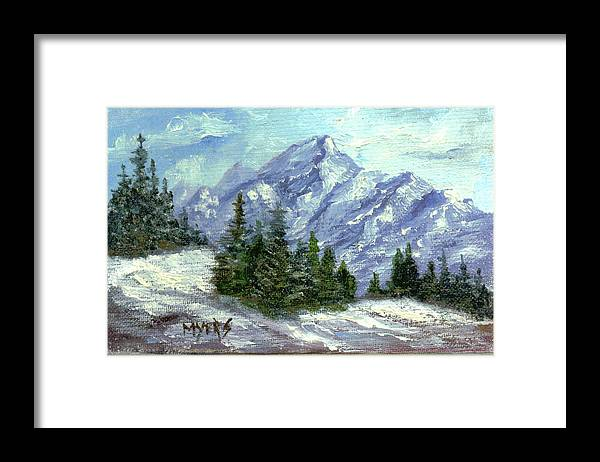 Ice Framed Print featuring the painting Icy Mountain by Rhonda Myers