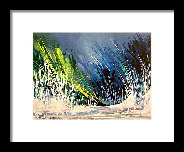 Abstract Framed Print featuring the painting Icy Pond by Yvette Sikorsky