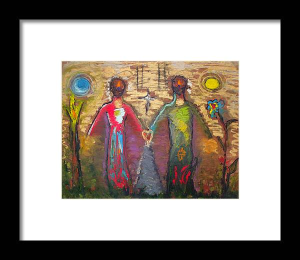 Abstract Framed Print featuring the painting Ideal by Erika Brown