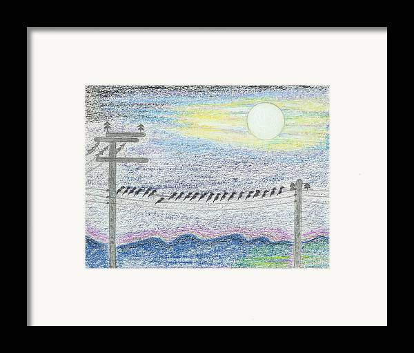 Bird Framed Print featuring the drawing Idividuality by Ingrid Szabo