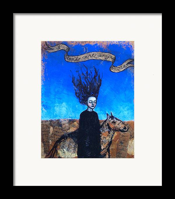 Framed Print featuring the painting Idontcareanymore by Pauline Lim