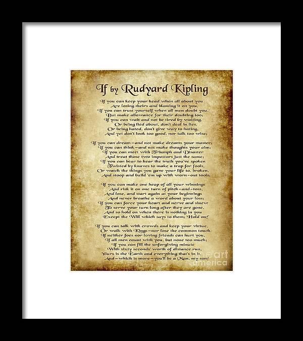 If By Rudyard Kipling Framed Print featuring the digital art If by Rudyard Kipling - Parchment Style by Ginny Gaura