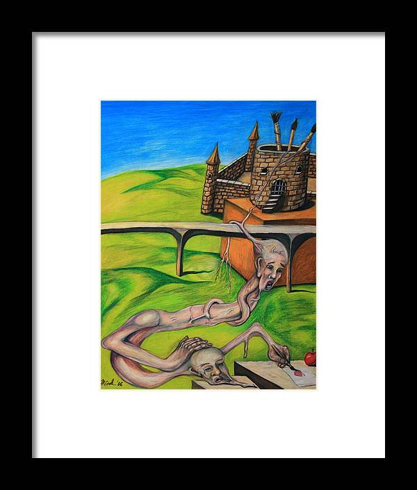 Surreal Conjoined Twins Landscape Framed Print featuring the drawing If I Can See It I Can Draw It by Michael Cook