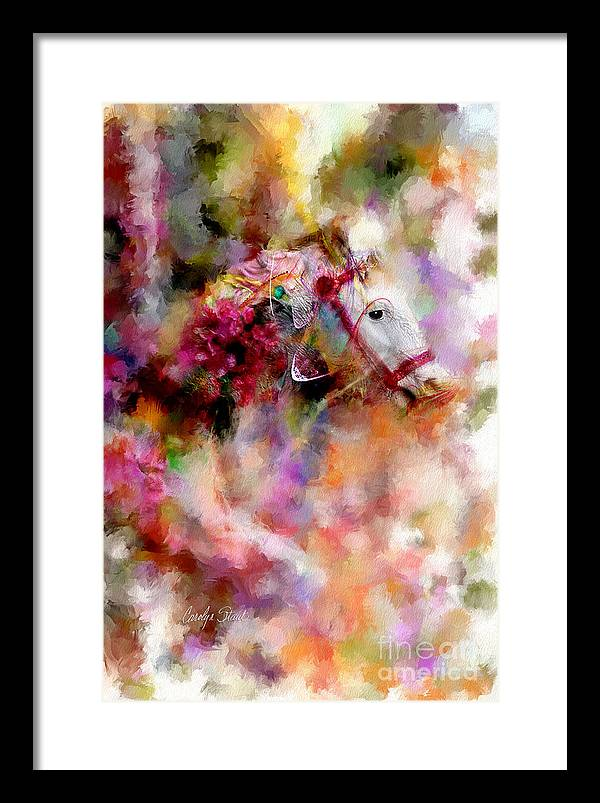 Abstract Horses Abstract Realism Bright Framed Print featuring the painting If Wishes Were Horses... by Carolyn Staut