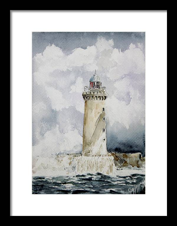 Lighthouses Framed Print featuring the painting ighthouse Kereon Ouessant island Britain by Giovanni Marco Sassu