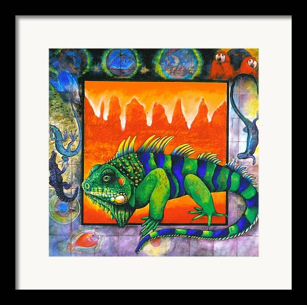 Iguana Framed Print featuring the painting Iguana by Christine McGinnis